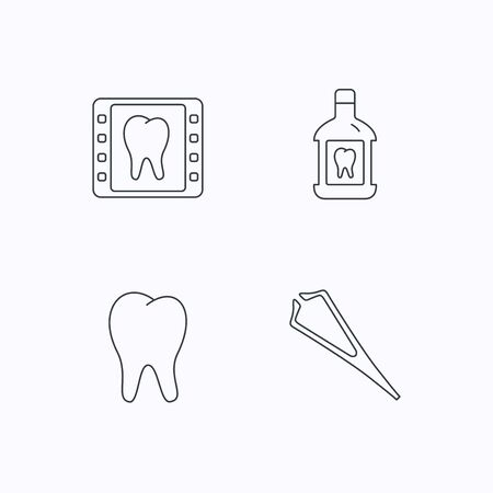 tweezers: Mouthwash, tooth and dental x-ray icons. Tweezers linear sign. Flat linear icons on white background. Vector
