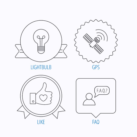 medal like: GPS, question and lightbulb icons. Thumb up, like linear sign.  Award medal, star label and speech bubble designs. Vector