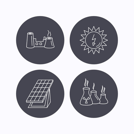 Solar collector energy, factory and industries icons. Solar energy linear signs. Flat icons in circle buttons on white background. Vector Illustration