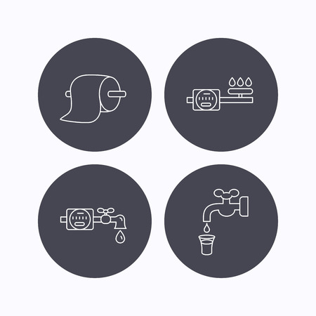 canalization: Toilet paper, gas and water counter icons. Save water linear sign. Flat icons in circle buttons on white background. Vector
