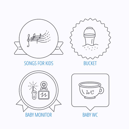 beach bucket: Baby wc, video monitoring and songs for kids icons. Beach bucket linear sign. Award medal, star label and speech bubble designs. Vector