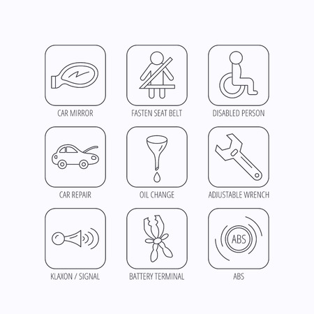 tool belt: Car mirror repair, oil change and wrench tool icons. ABS, klaxon signal and fasten seat belt linear signs. Disabled person icons. Flat linear icons in squares on white background. Vector