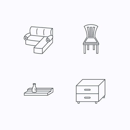 cosy: Corner sofa, nightstand and chair icons. Wall shelf linear sign. Flat linear icons on white background. Vector Illustration