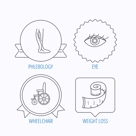 vision loss: Vein varicose, wheelchair and weight loss icons. Eye linear sign. Award medal, star label and speech bubble designs. Vector