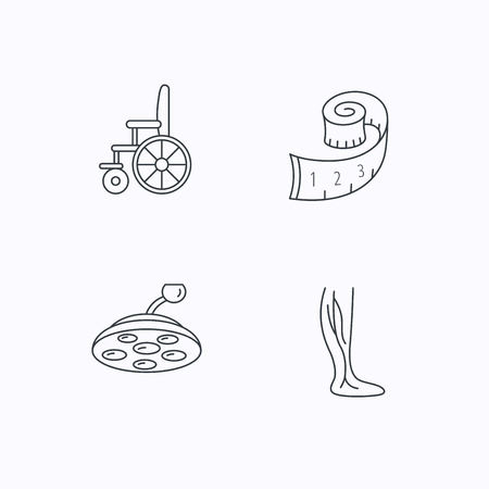 vein: Weight loss, wheelchair and vein varicose icons. Surgical lamp and phlebology linear signs. Flat linear icons on white background. Vector