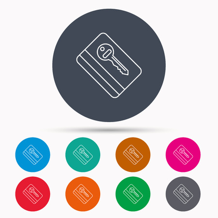 room card: Electronic key icon. Hotel room card sign. Unlock chip symbol. Icons in colour circle buttons. Vector