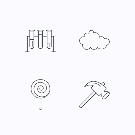 thin bulb: Hammer, lab bulbs and weather cloud icons. Lolly pop linear sign. Flat linear icons on white background. Vector Illustration