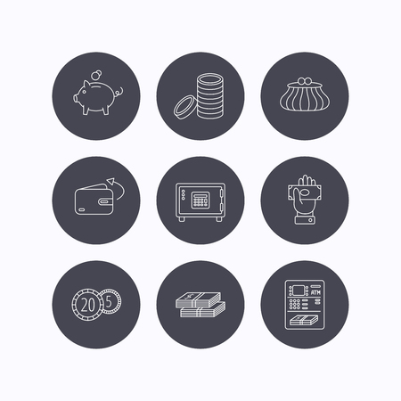 give money: Piggy bank, cash money and wallet icons. Safe box, send money and dollar usd linear signs. Give money, coins and ATM icons. Flat icons in circle buttons on white background. Vector Illustration