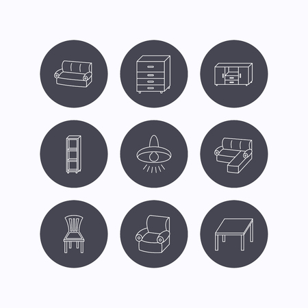 shelving: Corner sofa, table and armchair icons. Chair, ceiling lamp and chest of drawers linear signs. Shelving, furniture flat line icons. Flat icons in circle buttons on white background. Vector
