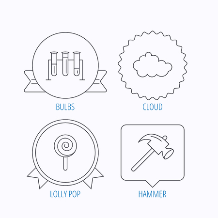 analyses: Hammer, lab bulbs and weather cloud icons. Lolly pop linear sign. Award medal, star label and speech bubble designs. Vector
