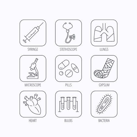 bacteria in heart: Broken foot, lungs and syringe icons. Stethoscope, pills and microscope linear signs. Bacteria, heart and lab bulbs flat line icons. Flat linear icons in squares on white background. Vector