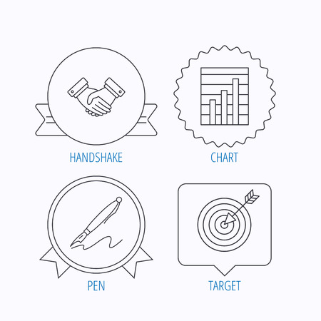 bubble pen: Handshake, graph charts and target icons. Pen linear sign. Award medal, star label and speech bubble designs. Vector