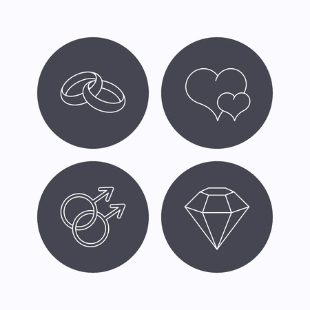 gay love: Love heart, diamond and wedding rings icons. Gay love linear sign. Flat icons in circle buttons on white background. Vector