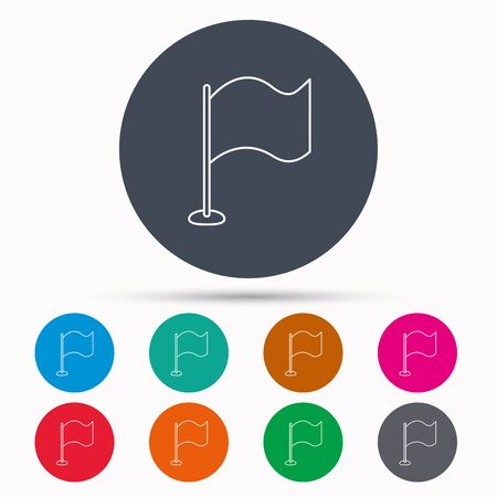 black flag: Waving flag icon. Location pointer sign. Icons in colour circle buttons. Vector