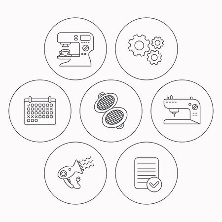 sign maker: Coffee maker, sewing machine and hairdryer icons. Waffle-iron linear sign. Check file, calendar and cogwheel icons. Vector Illustration