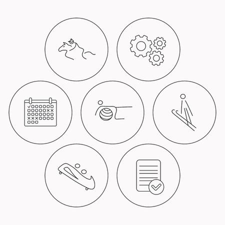bobsled: Pilates, bobsled and horseback riding icons. Ski jumping linear sign. Check file, calendar and cogwheel icons. Vector