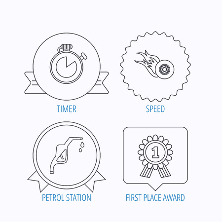 star award: Winner award, petrol station and speed icons. Race timer linear sign. Award medal, star label and speech bubble designs. Vector Illustration