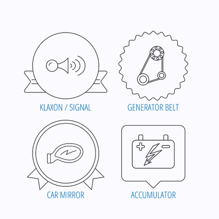 accumulator klaxon signal and generator belt icons accumulator
