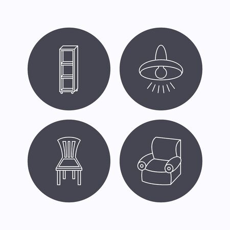 cosy: Chair, ceiling lamp and armchair icons. Shelving linear sign. Flat icons in circle buttons on white background. Vector