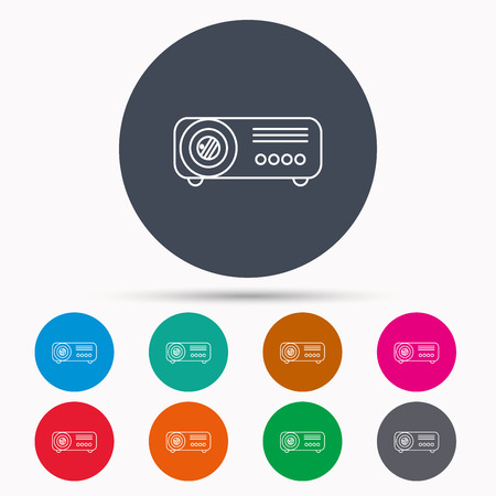 office buttons: Projector icon. Video presentation device sign. Business office conference tool symbol. Icons in colour circle buttons. Vector