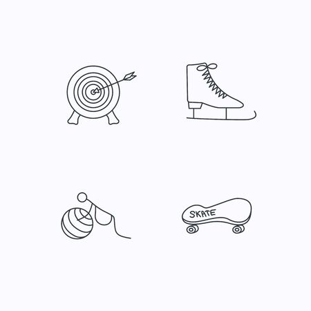 skating on thin ice: Target, ice skates and skateboard icons. Gymnastics for pregnant linear sign. Flat linear icons on white background. Vector