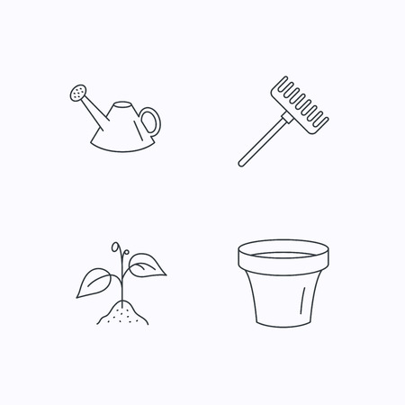 leaf line: Sprout plant, watering can and pot icons. Rake linear sign. Flat linear icons on white background. Vector Illustration