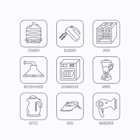 auto washing: Dishwasher, kettle and mixer icons. Oven, steamer and iron linear signs. Hair dryer, blender and kitchen hood icons. Flat linear icons in squares on white background. Vector Illustration