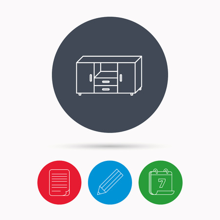 commode: Chest of drawers icon. Interior commode sign. Calendar, pencil or edit and document file signs. Vector