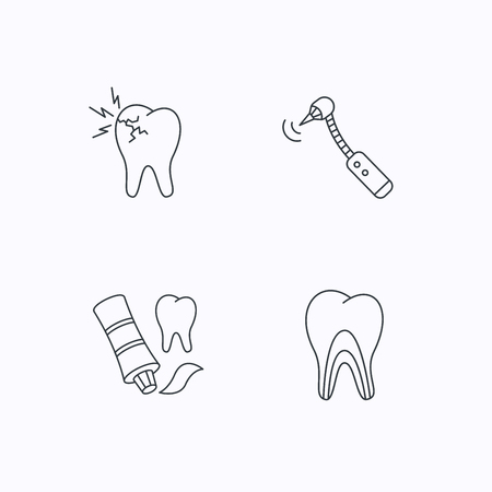 toothache: Toothpaste, dental tubules and toothache icons. Drilling tool linear sign. Flat linear icons on white background. Vector Illustration