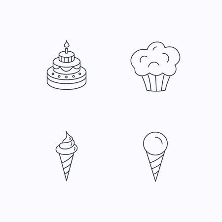 cone cake cone: Cake, ice cream and muffin icons. Sweets linear sign. Flat linear icons on white background. Vector