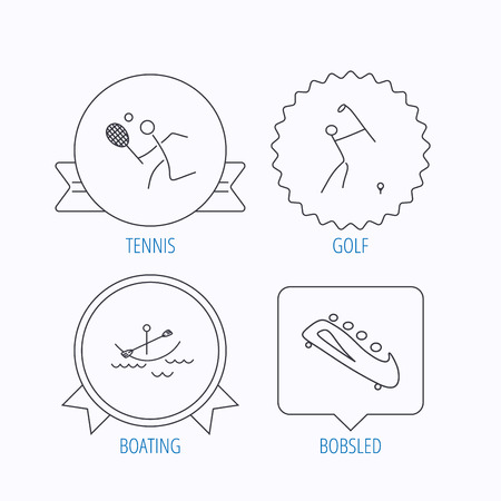 boating: Boating, tennis and golf icons. Bobsled linear sign. Award medal, star label and speech bubble designs. Vector
