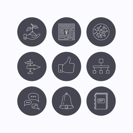 global direction: Global network, like and conversation icons. Book, bell and direction arrows linear signs. Save nature, maze and hierarchy icons. Flat icons in circle buttons on white background. Vector