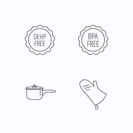 bpa: Saucepan, potholder and BPA free icons. DEHP free linear sign. Flat linear icons on white background. Vector