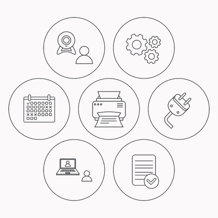 portative: Video chat, printer and electric plug icons. Video conference linear sign. Check file, calendar and cogwheel icons. Vector