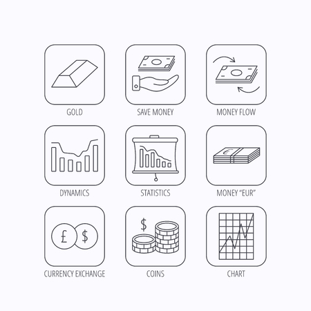 deceleration: Banking, cash money and statistics icons. Money flow, gold bar and dollar usd linear signs. Dynamics chart, coins and savings icons. Flat linear icons in squares on white background. Vector Illustration