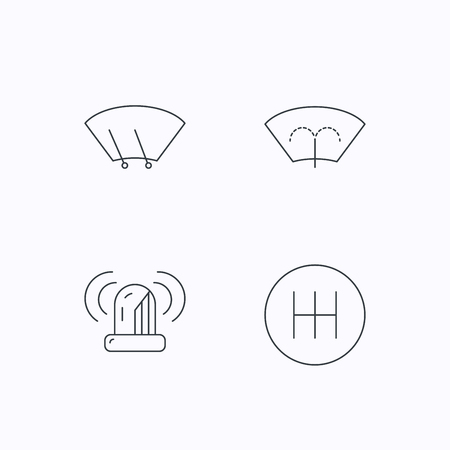 wiper: Manual gearbox, siren alarm and washing window icons. Windscreen wiper linear sign. Flat linear icons on white background. Vector Illustration