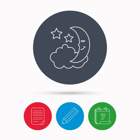 moonbeam: Night or sleep icon. Moon and stars sign. Crescent astronomy symbol. Calendar, pencil or edit and document file signs. Vector Illustration