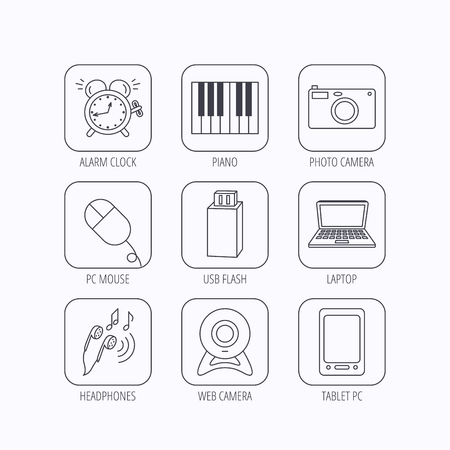 corner clock: Photo camera, USB flash and notebook laptop icons. PC mouse, alarm clock and web camera linear signs. Tablet PC and music headphones icons. Flat linear icons in squares on white background. Vector