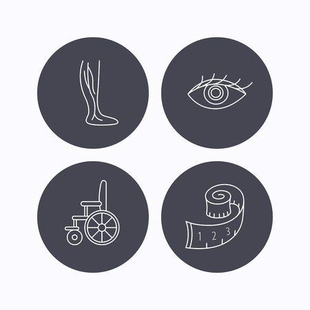 vision loss: Vein varicose, wheelchair and weight loss icons. Eye linear sign. Flat icons in circle buttons on white background. Vector