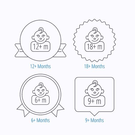 unattended: Infant child and toddler baby icons. 6-18 months child linear sign. Award medal, star label and speech bubble designs. Vector