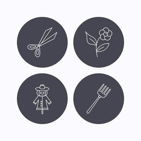 crop circle: Scissors, flower and pitchfork icons. Scarecrow linear sign. Flat icons in circle buttons on white background. Vector