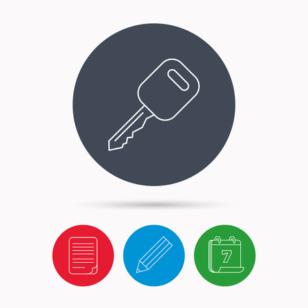 document file: Car key icon. Transportat lock sign. Calendar, pencil or edit and document file signs. Vector Illustration