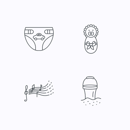 beach bucket: Diapers, newborn baby and songs for kids icons. Beach bucket linear sign. Flat linear icons on white background. Vector