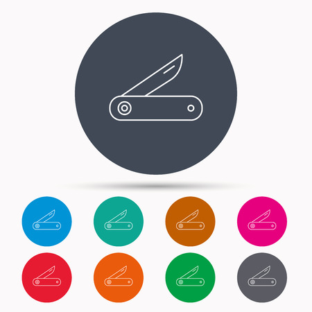 knive: Multitool knife icon. Multifunction tool sign. Hiking equipment symbol. Icons in colour circle buttons. Vector