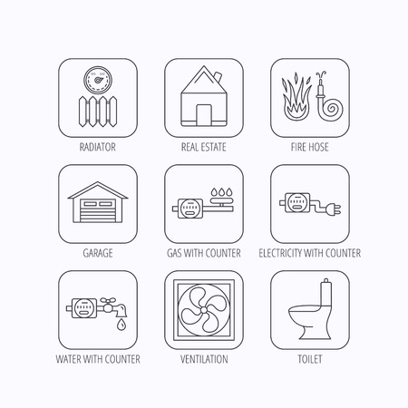 canalization: Ventilation, garage and heat radiator icons. Gas, water and electricity counter linear signs. Real estate, toilet and fire hose icons. Flat linear icons in squares on white background. Vector