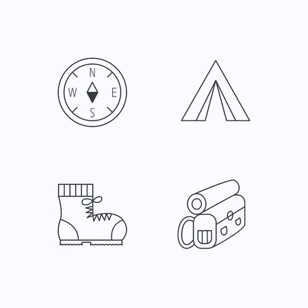 to tend: Backpack, camping tend and hiking boots icons. Compass linear sign. Flat linear icons on white background. Vector Illustration