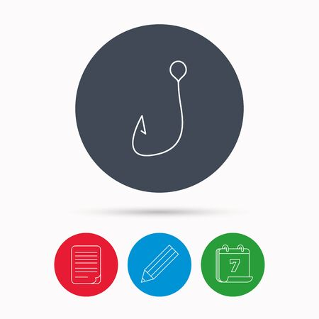 angling: Fishing hook icon. Fisherman equipment sign. Angling symbol. Calendar, pencil or edit and document file signs. Vector Illustration