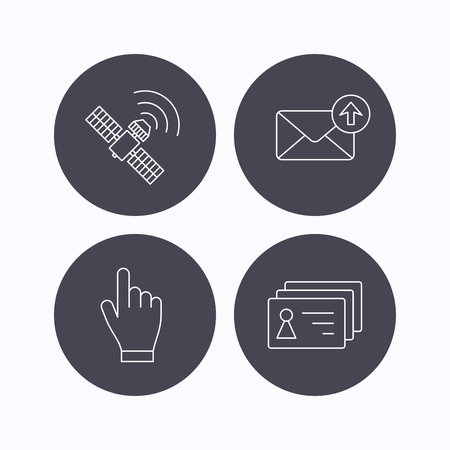 outbox: Hand pointer, contacts and gps satellite icons. Outbox mail linear sign. Flat icons in circle buttons on white background. Vector