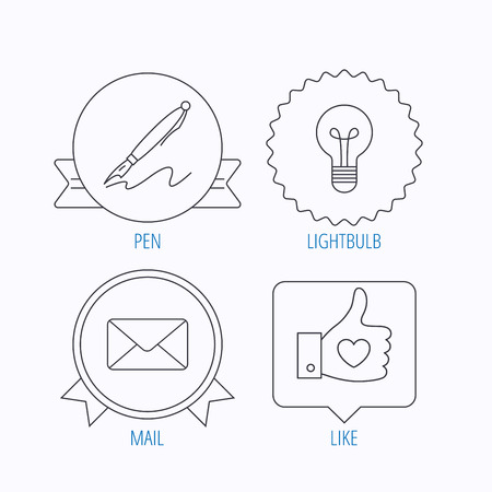bubble pen: Mail, heart and lightbulb icons. Pen linear sign. Award medal, star label and speech bubble designs. Vector Illustration