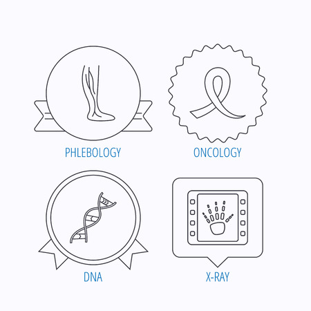 varicose veins: Phlebology, DNA and X-ray icons. Oncology awareness ribbon linear sign. Award medal, star label and speech bubble designs. Vector